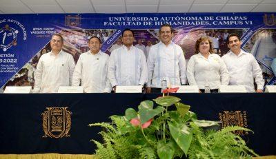 Rinde el director de la Facultad de Humanidades, Campus VI de la UNACH, Fredy Vázquez Pérez, su Primer Informe de Actividades