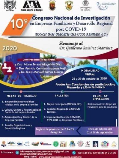 Organiza UNACH el 10° Congreso Nacional de Investigación en Empresas Familiares y Desarrollo Regional