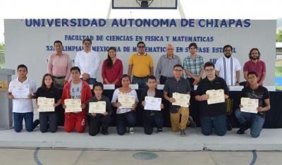 Premian en la UNACH a ganadores de la 32ª Olimpiada  Mexicana de Matemáticas en su fase estatal
