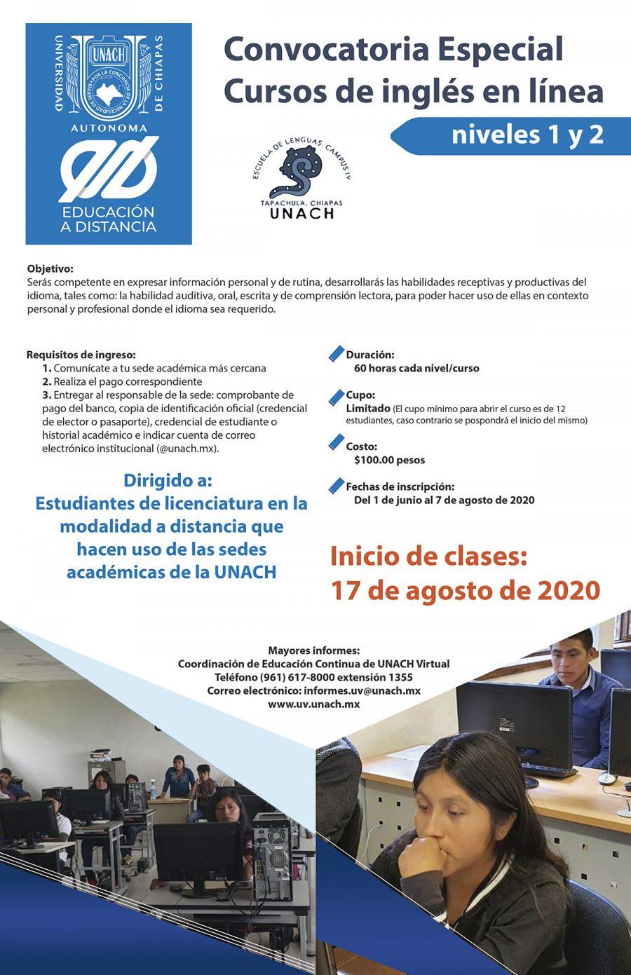 Emite UNACH Virtual convocatoria especial de cursos de inglés para sedes académicas