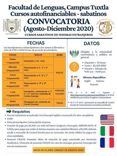 Oferta Facultad de Lenguas Tuxtla de la UNACH Cursos Autofinanciables Sabatinos
