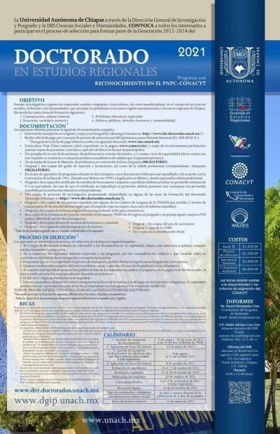 Abre UNACH convocatoria para el Doctorado en Estudios Regionales
