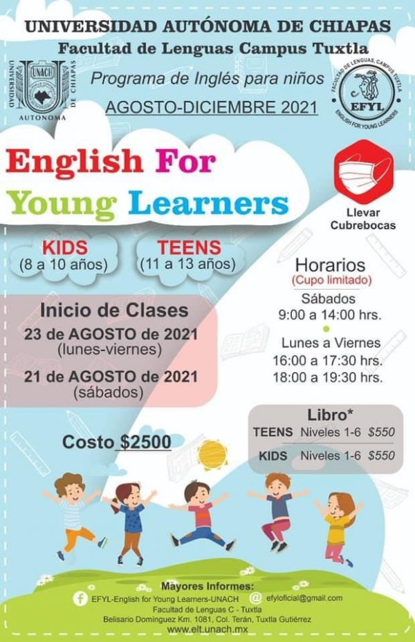Lanza UNACH convocatoria del programa de inglés para niños
