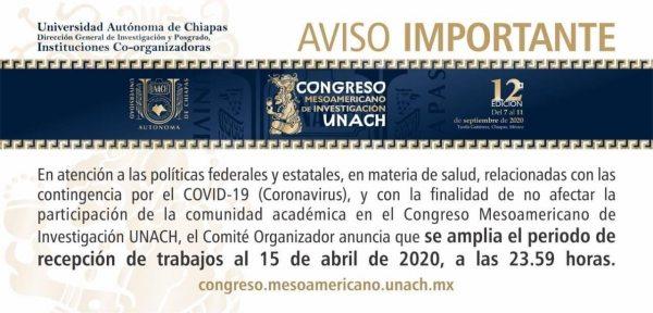 En la UNACH  Amplían periodo de recepción de los trabajos que participarán en el Congreso Mesoamericano de Investigación