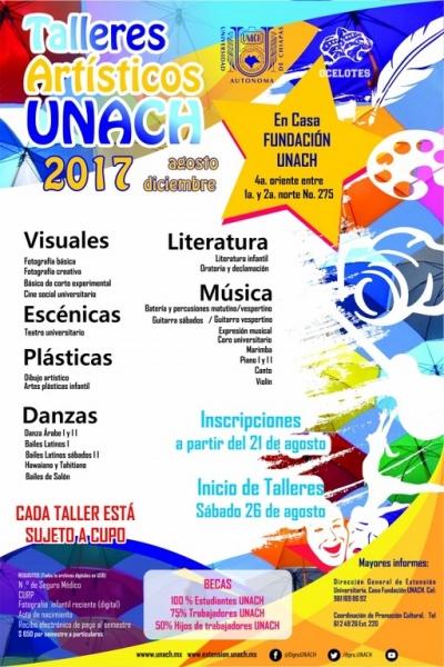 Abre UNACH convocatoria para los Talleres Artísticos agosto - diciembre 2017