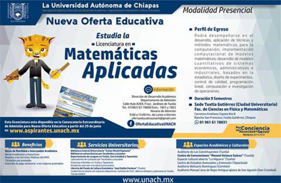 Abierto en la UNACH el proceso de entrega de fichas para el examen de admisión de la Licenciatura en Matemáticas Aplicadas