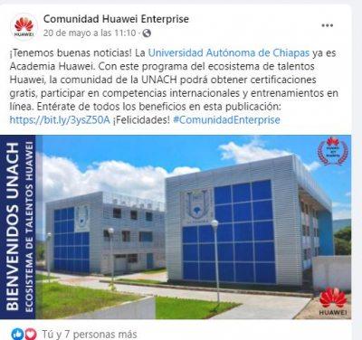 Obtiene UNACH registro como Academia Huawei