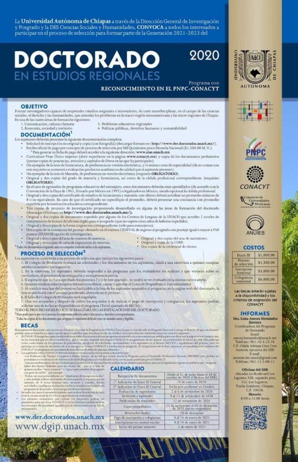 Se encuentra abierta la convocatoria del Doctorado en Estudios Regionales que oferta la UNACH