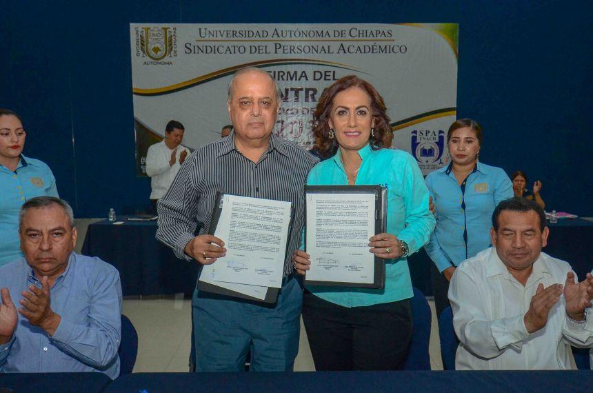 Suscriben Administración Central de la UNACH y SPAUNACH el Contrato Colectivo de Trabajo 2018