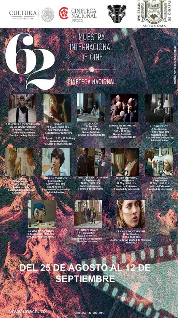 Presenta UNACH la 62 Muestra Internacional de Cine de la Cineteca Nacional