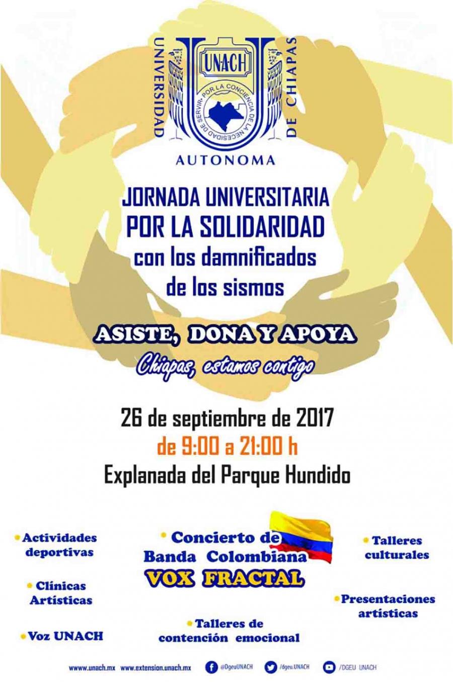 Organiza UNACH la Jornada Universitaria por la Solidaridad con los damnificados de los sismos
