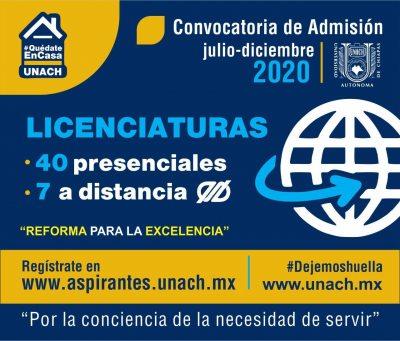 Abre UNACH periodo de entrega de fichas para el examen de admisión del ciclo escolar julio-diciembre 2020
