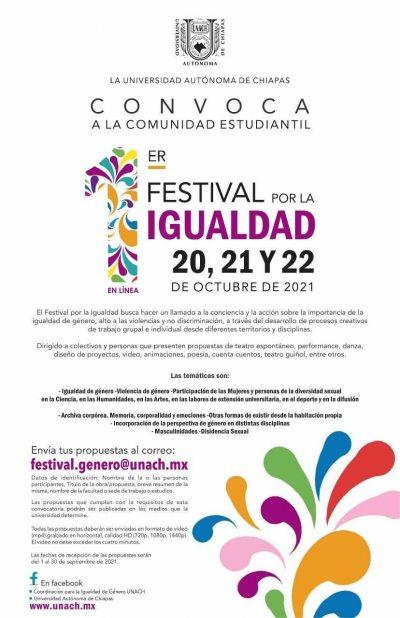 Invita UNACH a participar del  Festival por la Igualdad