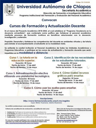Organiza UNACH Cursos de Formación y Actualización Docente