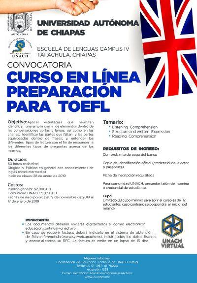 Oferta UNACH el Curso en Línea de Preparación para el TOEFL