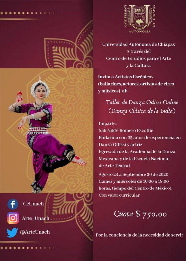 Ofrece UNACH Taller de Danza Odissi en línea