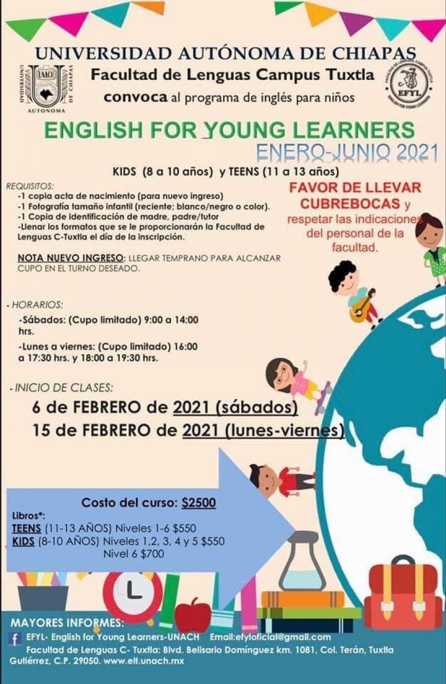 Lanza Facultad de Lenguas Tuxtla de la UNACH convocatoria para cursos de inglés para niños de 8 a 13 años
