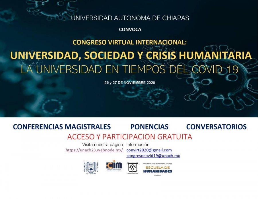 Organiza UNACH Congreso Virtual Universidad, Sociedad y Crisis Humanitaria