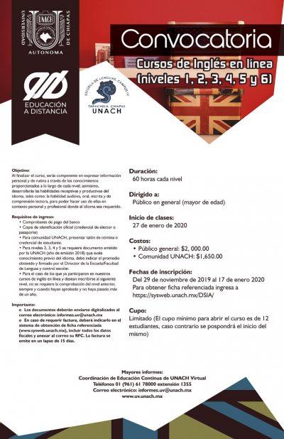 Oferta la Escuela de Lenguas de la UNACH en Tapachula cursos de inglés en línea.