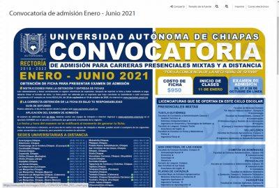 Lanza UNACH convocatoria para el examen de admisión del ciclo escolar enero-junio 2021